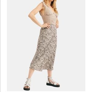 NWT free people normani bias-printed skirt